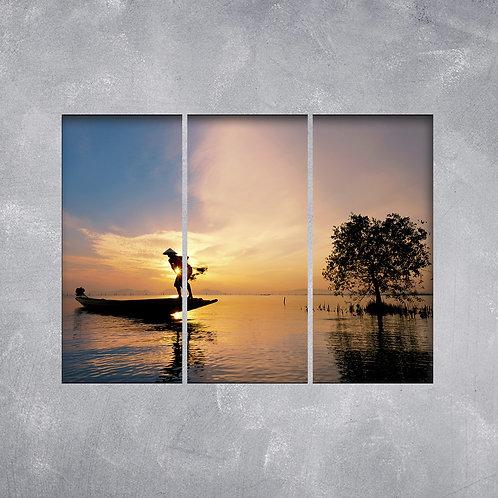 Quadro Pescador no Pôr do Sol