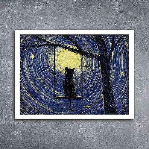 Quadro Gato ao Luar