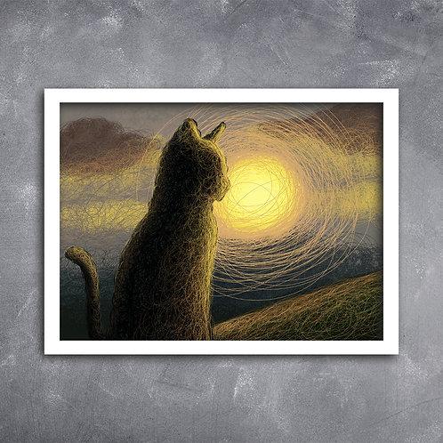 Quadro Gato ao Pôr do Sol
