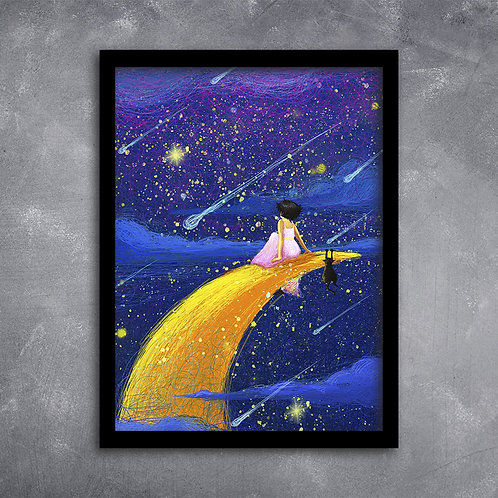 Quadro  Menina Com Gato Sob As Estrelas