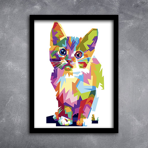 Quadro Gato Colorido