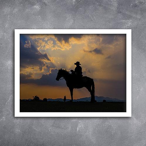 Quadro Cavaleiro no Por do Sol