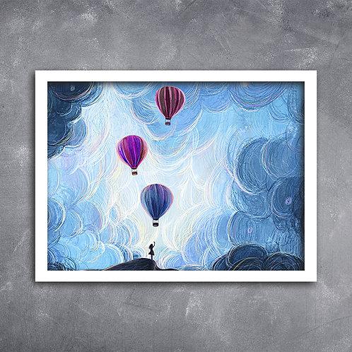 Quadro Menina com  Balões de Ar Quente
