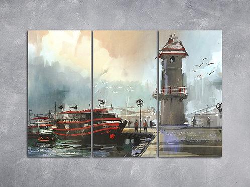 Quadro Barco de Pesca no Porto
