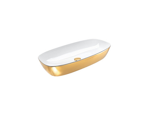 CATALANO GREEN LUX 80x40 SIT ON WHITE INSIDE / GOLD OUTSIDE BASIN