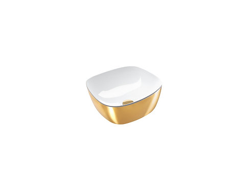 CATALANO GREEN LUX 40x40 SIT ON WHITE INSIDE / GOLD OUTSIDE BASIN