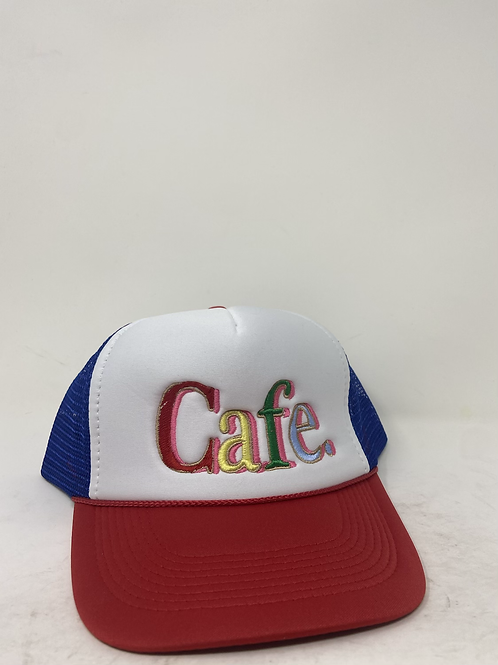 CAFE - Essential Trucker Hat - White / Red / Blue