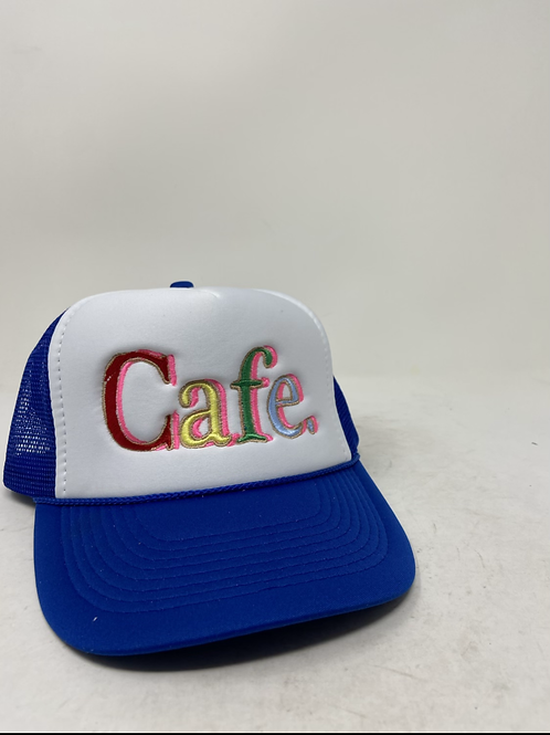 CAFE - Essential Trucker Hat - White/ Royal Blue