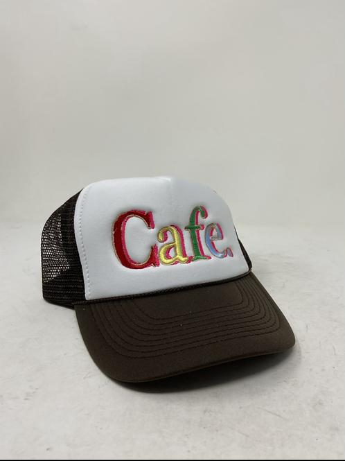 CAFE - Essential Trucker Hat - White/ Brown