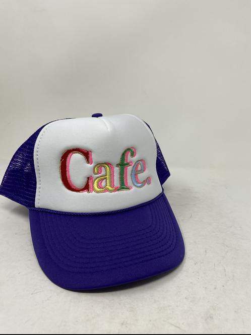 CAFE - Essential Trucker Hat - White/ Purple