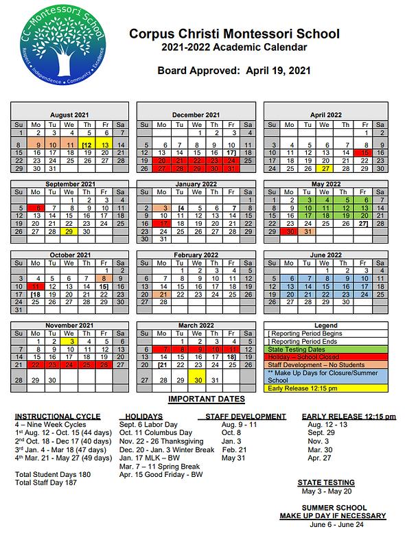 21-22 Approved Calendar