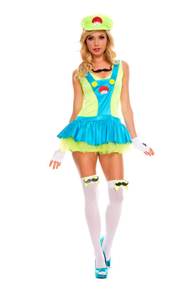 this brisk green playful plumber tv halloween costumes features the green dress with tutu skirt the green hat protect your kingdom and your brothers while