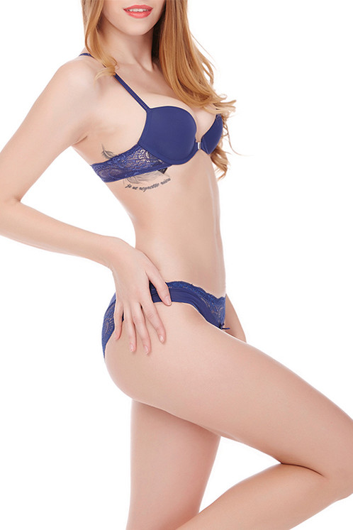 edc04df3d Vamp Blue Designer Bra Panty Set Underwire Adjusted Straps with exotic  floral lace. Stunning open back with adjustable strap and lace.