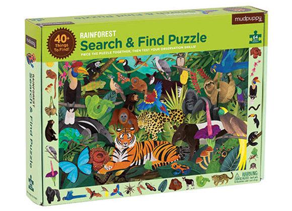 Puzzle 64 pièces et cherche et trouve La jungle- Mudpuppy