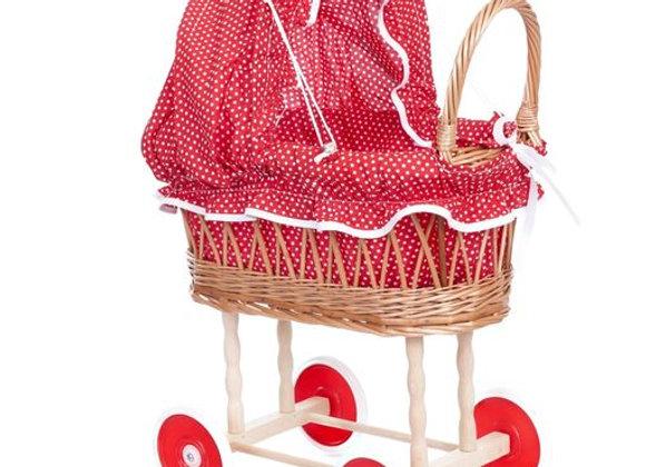 Landau en osier et tissu à pois rouges - Egmont Toys