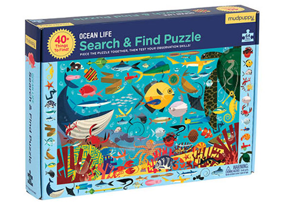 Puzzle 64 pièces et cherche et trouve L'océan- Mudpuppy