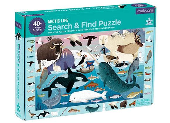Puzzle 64 pièces et cherche et trouve L'arctique- Mudpuppy