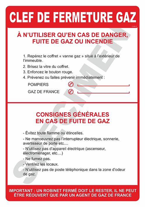 CONSIGNES FERMETURE GAZ