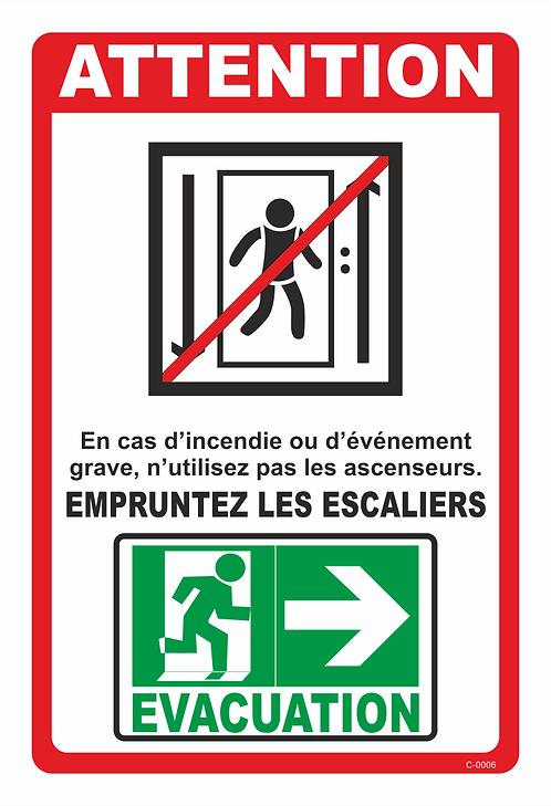 EVACUATION ASCENSEUR DROITE / GAUCHE