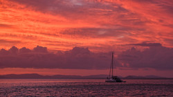 Coral Sea Sunset Sailboat 01