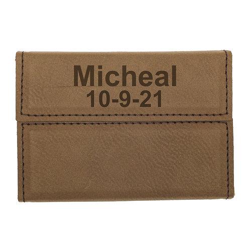 Dark Brown Leatherette Business Card Holder