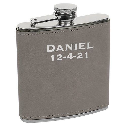 6 oz. Leatherette Flask Gray
