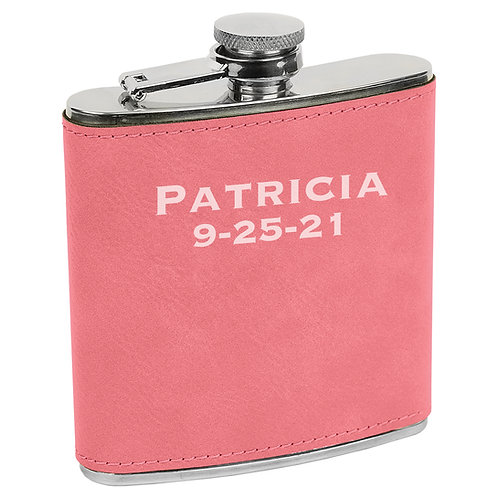 6 oz. Leatherette Flask Pink