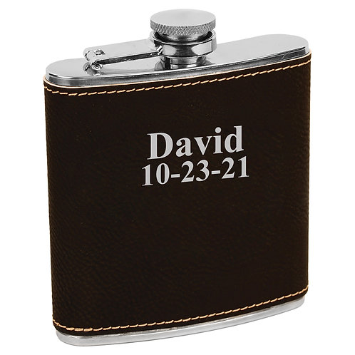 6 oz. Leatherette Flask Black