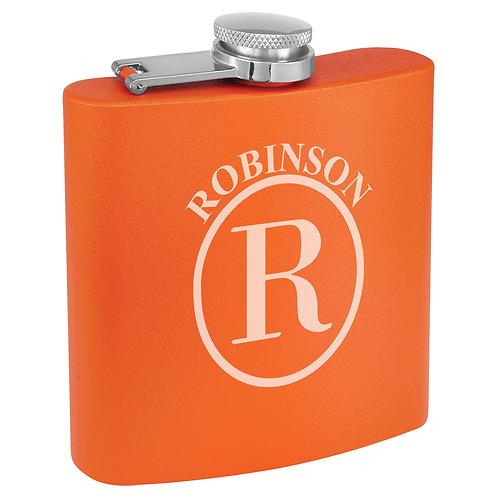 6 oz. Powder Coated Flask Orange