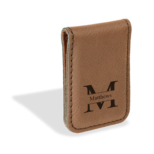 Tan Leather Money Clip