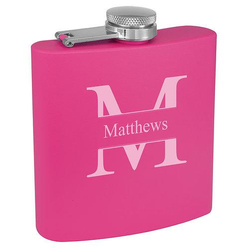 6 oz. Powder Coated Flask Pink