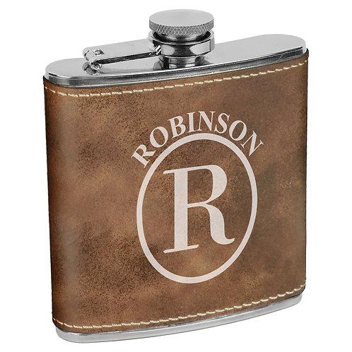 6 oz. Leatherette Flask Rustic