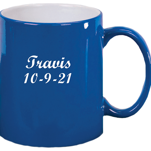 Blue Engravable Mug