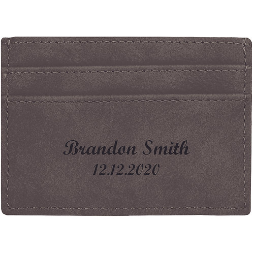 Grey Leatherette Slim Wallet