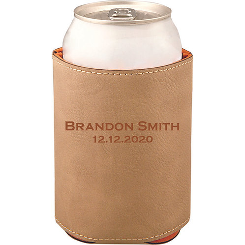 Light Brown Laserable Leatherette Beverage Holder