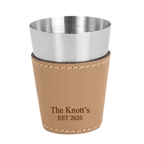 Light Brown Leather Wrapped Stainless Steel Shot Glass