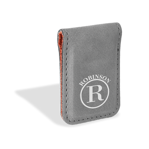Grey Leather Money Clip