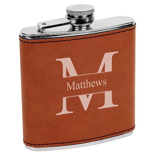 6 oz. Leatherette Flask Rawhide