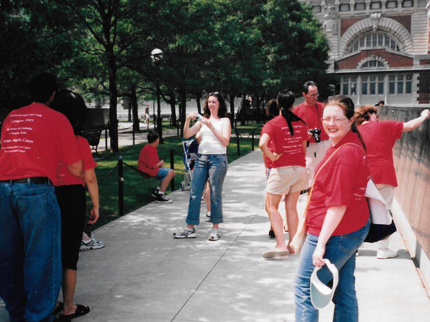 Some of Amy's fam at Ellis Island in 05 - in group T shirts!