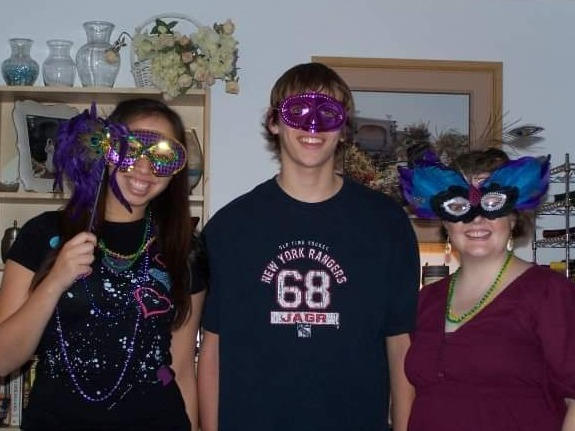 Amy with cousins Lauren & Nick at our Mardi Gras party