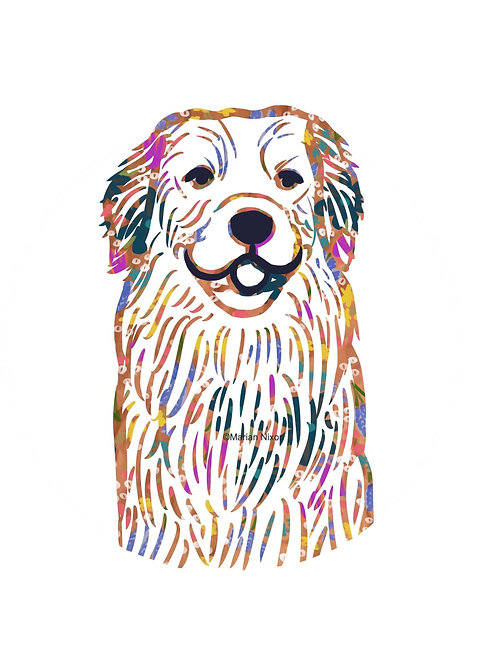 Golden Retriever Dog Art Print, Personalized with Your Dog's Name