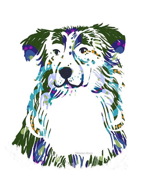 Australian Shepherd Dog Art Print, Personalized with Dog's Name