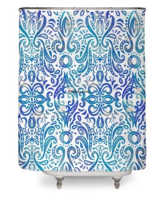 Blue Swirl Shower Curtain