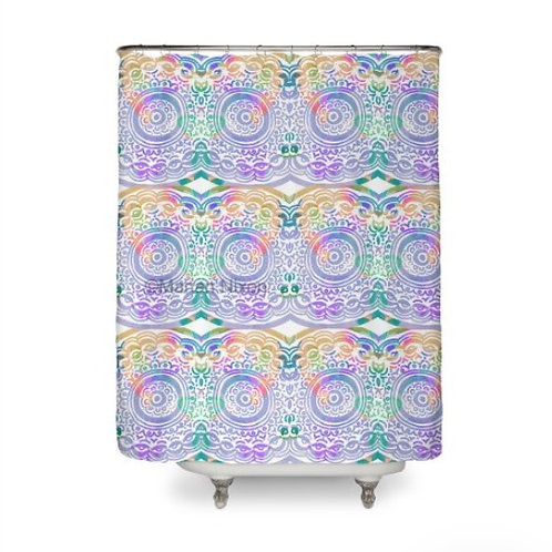 Hip and Groovy Pastel Art Shower Curtain