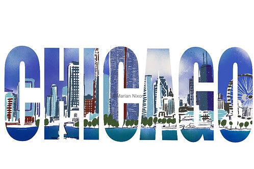 Chicago Wall Art, City Skyline Print