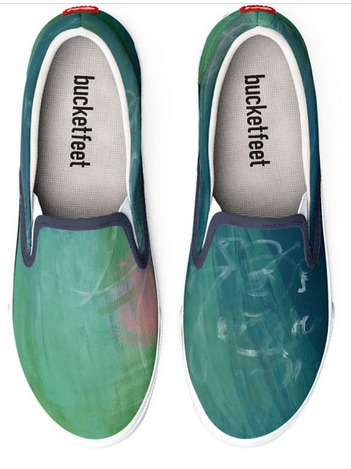 Abstract Design Green Slip on Gym Shoes