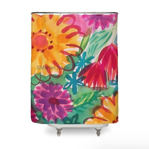 Bold Floral Watercolor Design Shower Curtain