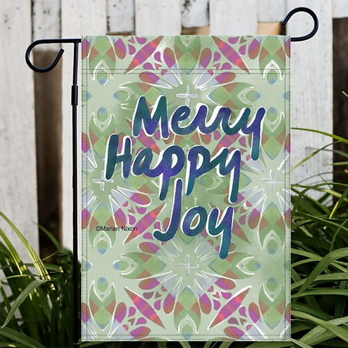 Happy Merry Joy Holiday Flag, Christmas Decor