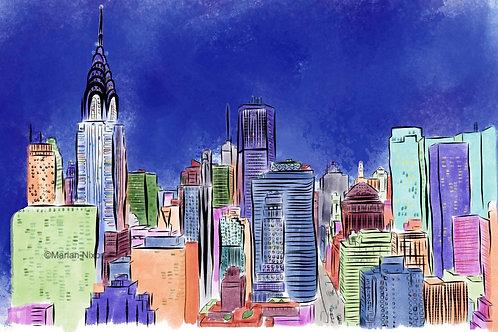 New York City Skyline Art Print, NYC Wall Decor