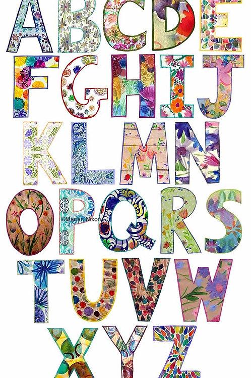 Alphabet Wall Decals, Flower Design Letter Stickers, Kids Room Decor